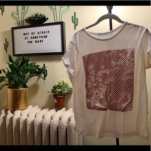 🤩Zara T-shirt w/ plaid print shirt size XL